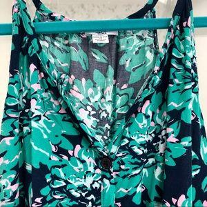 Splendid Button-Up Floral Tank Top - Green